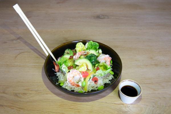 afhaal gerechten poké bowl garnaal
